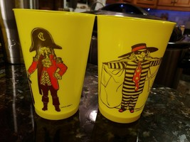 2 Vintage Yellow Plastic McDonald Cups Captain Crook Hamburglar - $18.75