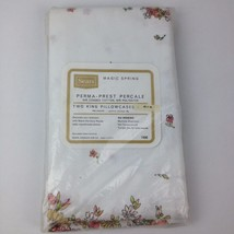 NOS 60s VTG New Sealed King Pillowcases Set Pair Sears Pink Floral Flowe... - $17.03