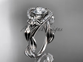 14kt white gold diamond engagement ring with a Moissanite center stone ADLR326 - $1,699.00