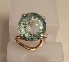 Estate Cerified Rare Blue Green 9.20 Ct Aquamarine & Diamond 14k gold ri... - $2,999.99