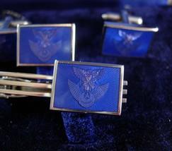 Original case JASDF Cufflinks Japan Air Self-Defense Force tie tack tieclip blue - $245.00