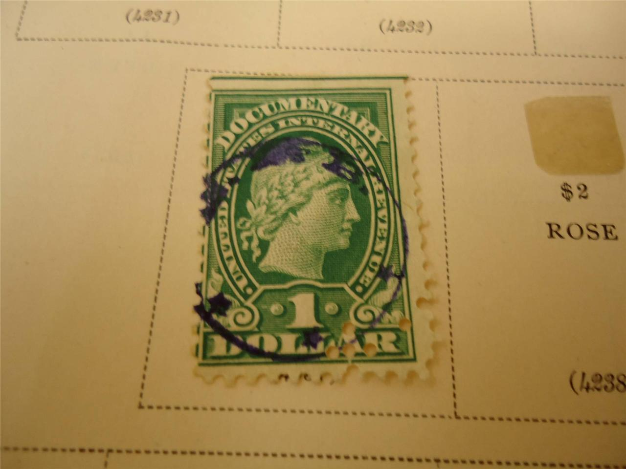 Antique USA 1 Dollar 1917 Green Liberty Documentary Stamp