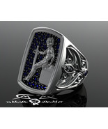Blue sapphire soldier guardian cherub angel 2oz 18kt gold pave scrollwork ring w - $13,413.00