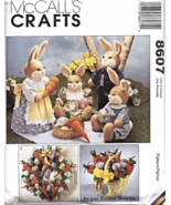 """McCall's 8607 BUNNY PICNIC Easter Decor 19"""" Pattern  - $12.95"""
