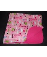 Garanimals Baby Blanket Pink Sherpa Animals Giraffe Monkey Bird Flower P... - $37.59