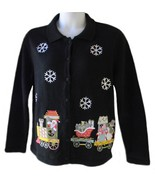 Bechamel Size L Womens Black Christmas Cardigan Sweater   - $29.99