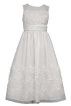 Big Girls Tween White Sequin Bonaz Illusion Communion Flower Girl Dress