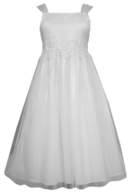 Big Girls Tween White Shirred Strap Venice Tulle Communion Flower Girl Dress