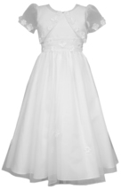 Big Girls Tween White Floral Organza Communion Flower Girl Dress/Jacket Set