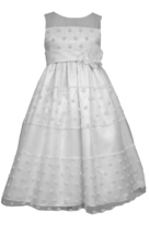 Big Girls Tween White Mini Rosette Communion Flower Girl Dress