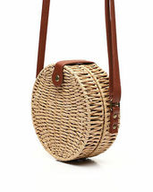 Women's Vegan Bohemian Woven Canteen Handbag Wicker Lined Boho Chic Purse image 3