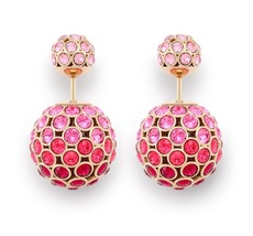 Christian Dior Mise En Dior Red Pink Esprit Tokyo Tribal Pearl Earrings AUTH