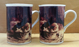 TWO Vintage Victorian Greetings China Co. Cats in Teacup Coffee Mugs - $12.00
