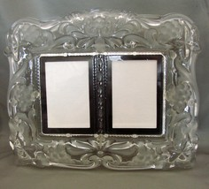 Crystal Photo Frame for Two 3 x5  Photos~Clear and Frosted~ Grapes Leaves  - $9.99