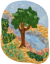 Tree and Stream: Quilted Art Wall Hanging - $345.00