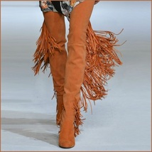 Long Fringe Russet Suede Leather Over the Knee Thigh High Square Heel LA Boots
