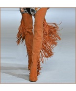 Long Fringe Russet Suede Leather Over the Knee Thigh High Square Heel LA... - $321.95