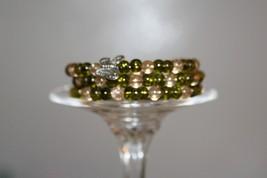 Khaki and Beige Crackle Beads Three Strand Memo... - $12.50