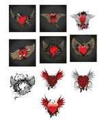 10-Vintage Emblem H2-Digital Clipart-Heart - $6.00