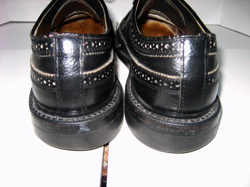 Men's DEXTER Black Leather Oxford Long Wing-tip Dress Shoes, Size 9 C