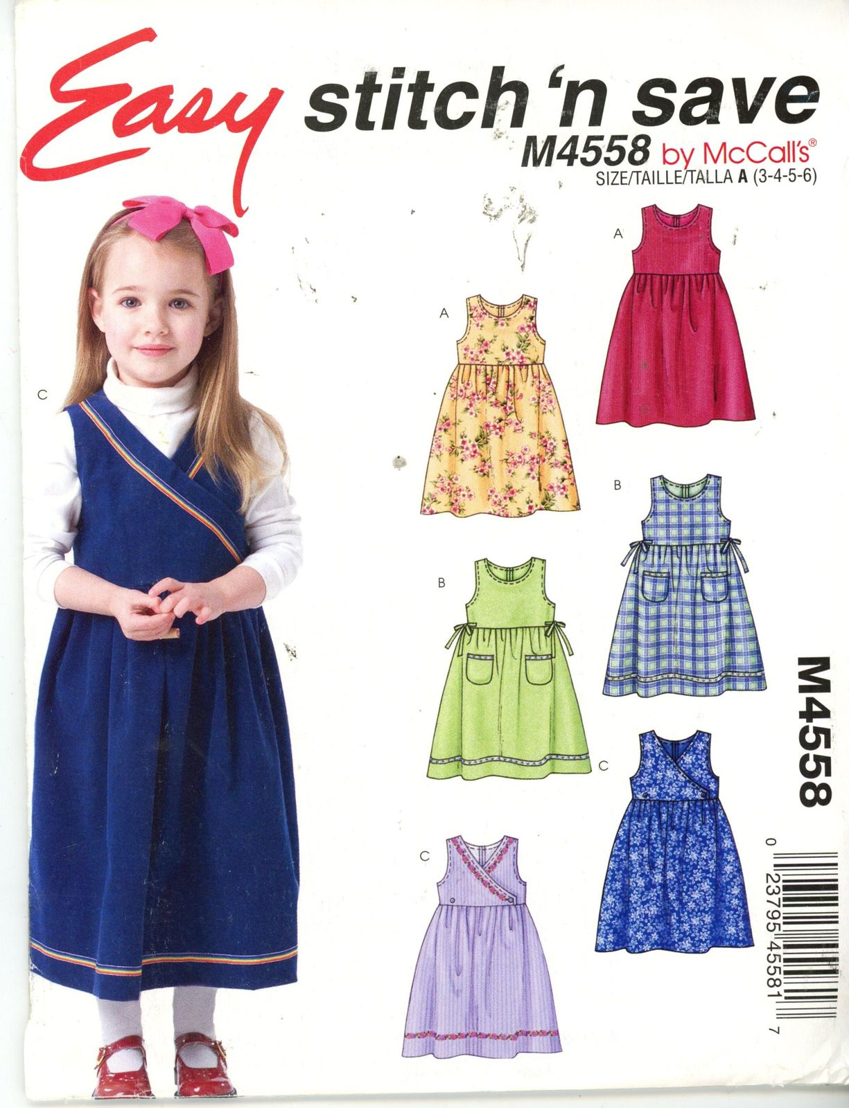 Primary image for McCalls M4558 Girl's Jumper  3 styles - Size 3-4-5-6 UNCUT