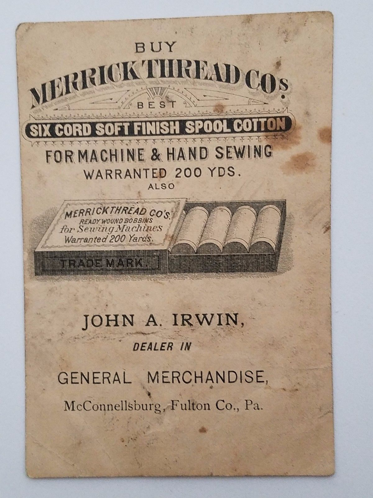 Victorian Trade Card Merrick Thread Black Americana Watermelon McConnellsburg MA
