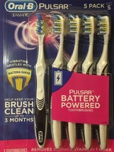 New 5 Pack ORAL-B Pulsar 3D White Toothbrush Battery Powered Soft Small - $16.82