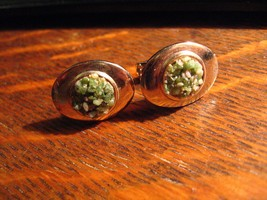 Mid Century Cufflinks - Vintage Gold Green Stone Chip Oval French Cuff L... - $19.79