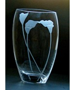 "Retired Mikasa Calla Lily Ellipse Crystal 12"" Etched Vase Frosted Calla ... - $89.00"