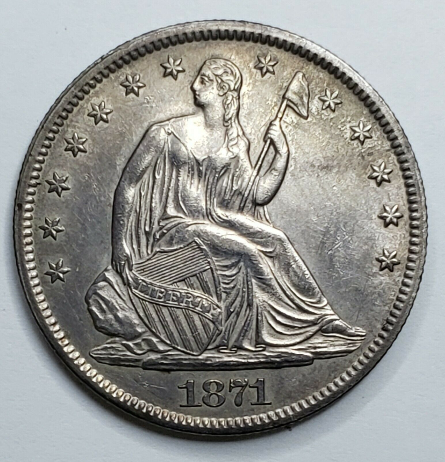 1871S Seated Liberty US silver half dollar coin Lot 519-121