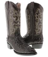 Mens Brown Crocodile Head Cut Pattern Leather Cowboy Boots Western Wear ... - £73.29 GBP