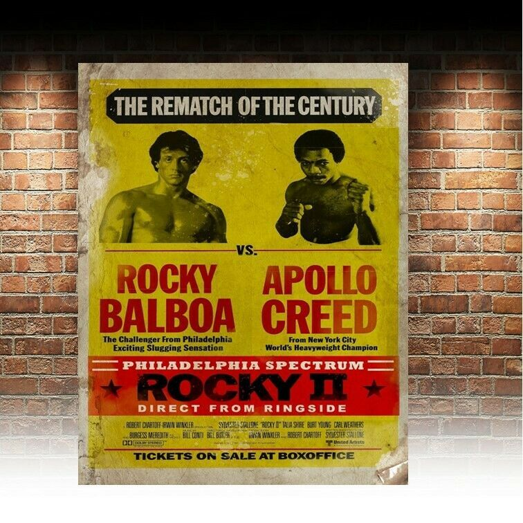 Primary image for Rocky 2 Fight Poster retro vintage style metal sign/plaque man cave shed bar pub