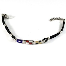 SILVER 925 BRACELET RHODIUM WITH FLAGS NAUTICAL GLAZED TILES AND ROPE 18 CM - $100.68