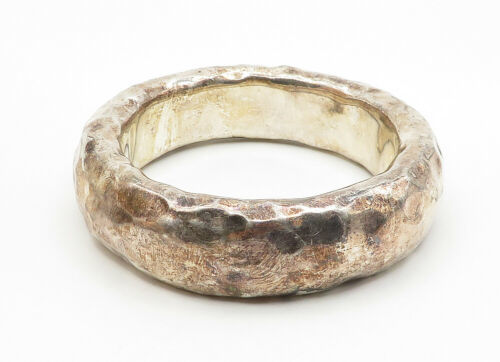 BAT-AMI ISRAEL 925 Silver - Vintage Hollow Hammered Bangle Bracelet - B6277 image 2