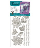 Hot Off The Press Dazzles Stickers, Silver Stacked Poinsettia - $6.21