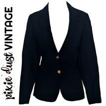 Vintage Blazer Navy Blue Fitted Jacket Tailored 1980s Slim Retro 80s Siz... - $40.09