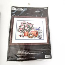 Bucilla Flower Pot Bird Eggs Crewel Perched and Pretty 14 x 10 Sealed - $42.95