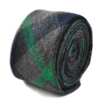 Frederick Thomas 100% lana verde scuro e grigio QUADRETTATO Slim Cravatta da