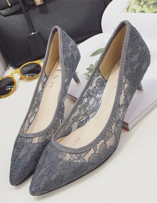 Low Heels Grey Lace Wedding Shoes,Gray Women Bridal Heels,Grey Evening Shoes