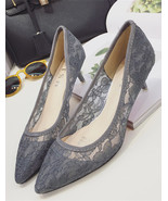 Low Heels Grey Lace Wedding Shoes,Gray Women Bridal Heels,Grey Evening Shoes - $38.00