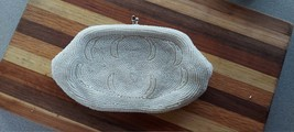Vintage White Beaded Elegant Nylon Lined Clutch w/ Silver Clasp Made in ... - $47.00