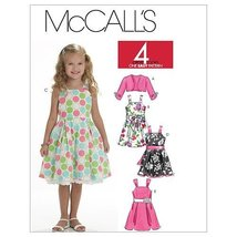 McCall's Patterns M6018 Children's/Girls' Shrug, Lined Dresses And Sash, Size CE - $15.68