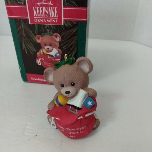 1992 Vintage Hallmark Keepsake Granddaughter's 1st Christmas Teddy Bear  - $9.21