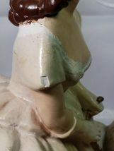 "ANTIQUE 1930s CHALKWARE WOMAN WITH WOLFHOUND BORZOI DOG VERY HEAVY 10.5""x 6 3/4"" image 6"
