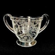 Vintage Fostoria Romance Elegant Etched Glass Ribbon Bow Open Sugar Bowl... - $17.62