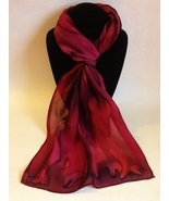 Hand Painted Silk Scarf Autumn Red Wine Plum Oblong Head Neck Gift Scarves - $56.00