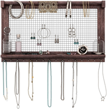 Rustic Wall Mount Jewelry Hanger Organizer Rack For Necklaces Bracelets ... - $36.74