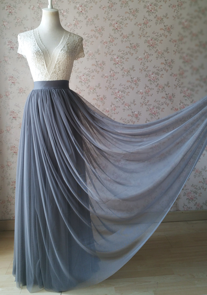 GRAY Tulle Skirt Outfit High Waisted Gray Tulle Maxi Skirt Plus Size Maxi Skirt