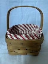 Vintage 1980s Longaberger Tarragon Booking Basket Combo With Red Strip L... - $20.35