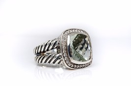 David Yurman 11mm Albion Ring w/ Prasiolite & Diamonds Size 8 - $445.50